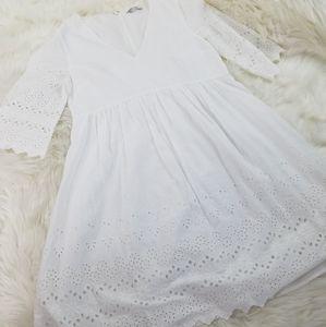 Madewell white cotton eyelet midi dress size 4